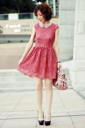 coral lace H&M dress - light pink bow satchel Miu Miu bag