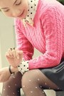 Black-pink-hearts-tights-hot-pink-knit-h-m-sweater-white-shirt