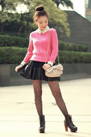 hot pink knit H&M sweater - white shirt - black pink hearts tights
