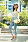 Light-blue-high-waisted-spiral-girl-jeans-heather-gray-cap-local-store-hat