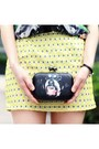 Black-bag-yellow-skirt-silver-necklace-black-animals-organza-choies-blouse