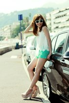 white top - turquoise blue lace shorts - aquamarine H&M sunglasses