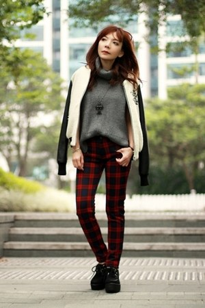 white varsity jacket jacket - black creepers shoes