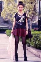 black H&M t-shirt - light pink faux leather Forever 21 jacket