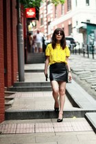 yellow Zara shirt - white clutch H&M bag - dark brown cat eye Topshop sunglasses