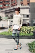 teal tartan EMODA pants - beige Local store sweater - white H&M shirt