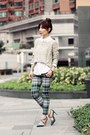 Beige-local-store-sweater-white-h-m-shirt-teal-tartan-emoda-pants