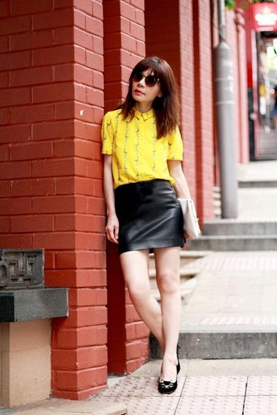 yellow flamingos Zara blouse - white clutch H&M bag