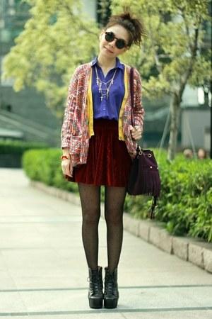 maroon velvet skirt - blue H&M shirt - mustard knit cardigan