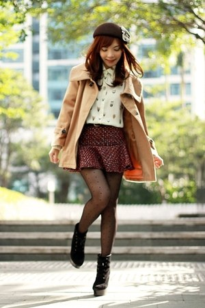 maroon tweed Choies skirt - black suede lace-up boots - camel cape Choies coat