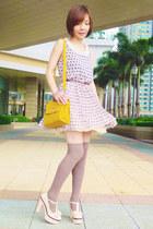 off white bow mary-janes heels - beige dress - mustard heart lock bag