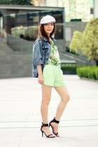 chartreuse Sheinside shorts - heather gray pageboy cap Local store hat