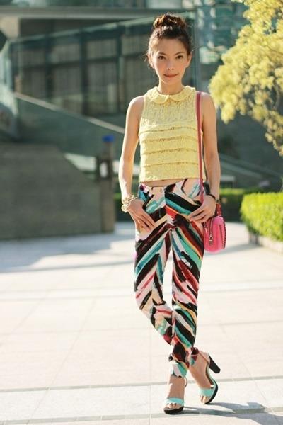 yellow Forever 21 top - hot pink Prada bag