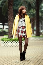 mustard yellow Choies coat - black suede lace-up boots