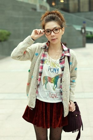 off white hearts knit cardigan - bubble gum plaid shirt - white H&amp;M t-shirt