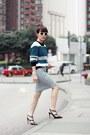 Teal-colour-block-murua-sweater-white-clutch-h-m-bag-white-zara-sunglasses