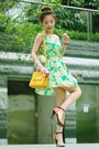 Lime-green-floral-print-dress-mustard-bag-yellow-belt