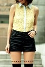 Black-h-m-hat-light-yellow-collared-lace-forever-21-shirt-black-tights