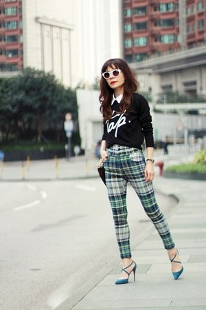 green plaid EMODA pants - black Murua sweater - dark brown PROENZA SCHOULER bag
