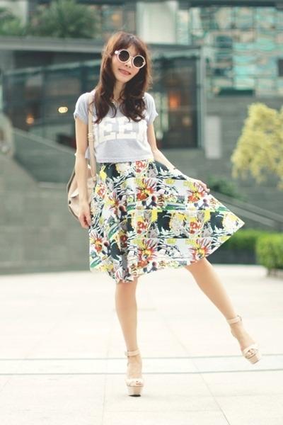 white Front Row Shop skirt - peach Topshop bag