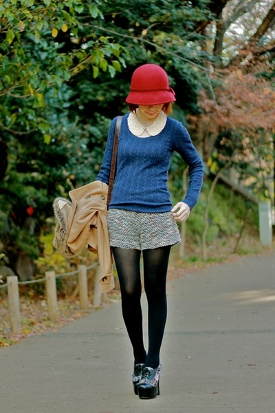 maroon cloche hat hat - navy cashmere Uniqlo sweater - dark brown satchel bag