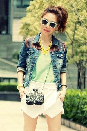 black bag - blue Forever 21 jacket - white origami skort Sheinside shorts