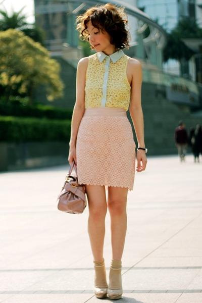 light yellow Forever 21 shirt - light pink bow satchel Miu Miu bag