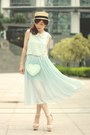 Light-blue-ianywear-dress-beige-boater-hat
