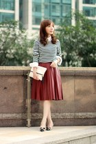 navy white stripes Gap sweater - white Gap shirt - white clutch H&M bag