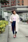 Light-pink-emoda-coat-blue-high-waisted-murua-jeans-bubble-gum-h-m-sweater