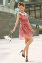 gold embellished bag - maroon lace H&M dress - white H&M necklace