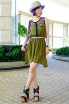 dark brown so much Jeffrey Campbell heels - olive green chiffon dress