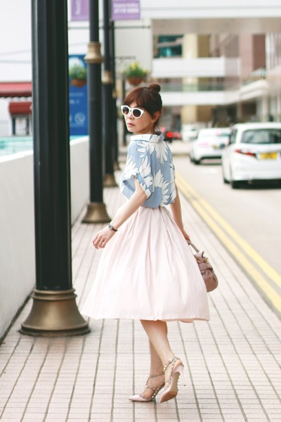 light pink midi Forever 21 skirt - light pink Miu Miu bag
