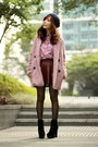 Black-suede-lace-up-boots-pink-tweed-choies-coat-navy-hat