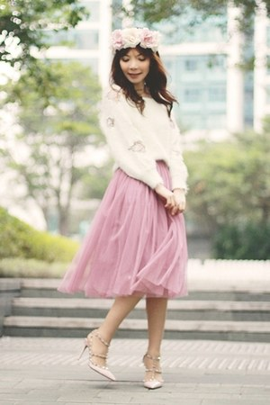 pink DIY skirt - white sweater - light pink flowers crown DIY hair accessory