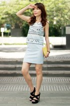 light blue aztec Murua top - yellow Monki bag - light blue gingham One Way skirt