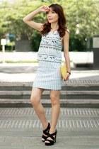 light blue aztec Murua top - yellow Monki bag - light blue gingham One Way skirt