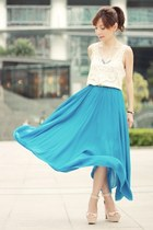 turquoise blue maxi Choies skirt - beige leather  suede Zara wedges