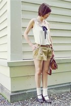 white ingni top - dark khaki shorts