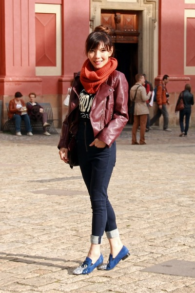 maroon Choies jacket - navy EMODA jeans - burnt orange H&M scarf
