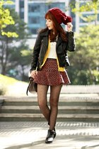 maroon tweed Choies skirt - black cut-out PERSUNMALL boots
