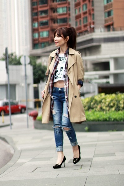 camel trench Topshop coat - blue boyfriend jeans Local store jeans