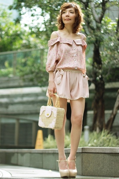 blouse - mini picnic bag bag - shorts - mary janes heels - accessories
