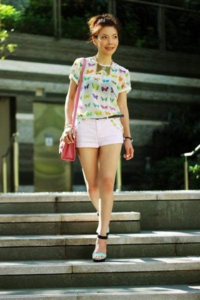 white Zara top - bubble gum satchel bag - light pink H&M shorts