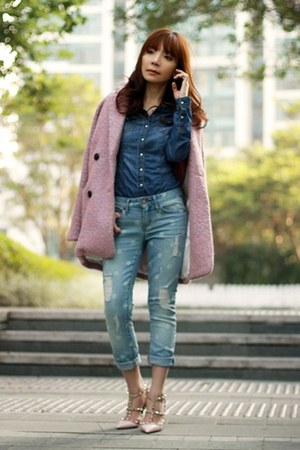 pink tweed Choies coat - sky blue Gap jeans - blue denim shirt H&M shirt