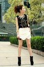 Black-suede-lace-up-boots-white-asymmetrical-sheinside-shorts