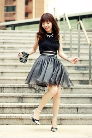 black Front Row Shop skirt - black bag - silver Choies wedges - white necklace