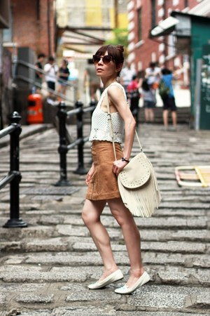 off white fringed Stradivarius bag - dark brown cat eye Topshop sunglasses