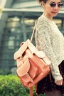 Black-suede-lace-up-boots-tan-sweater-peach-grafea-bag