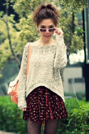 maroon skirt - black suede lace-up boots - tan sweater - peach Grafea bag